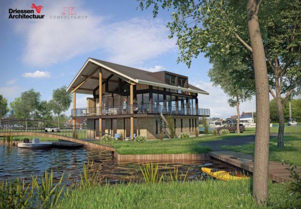 Illustratie_nieuwbouw_woonhuis_grou_aan_het_water_glas_uitzicht_aan_Minne_Finne