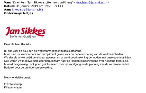 Compliment_Jan_Sikkes_aan_Jansma_Drachten_werkzaamheden_De_kaden