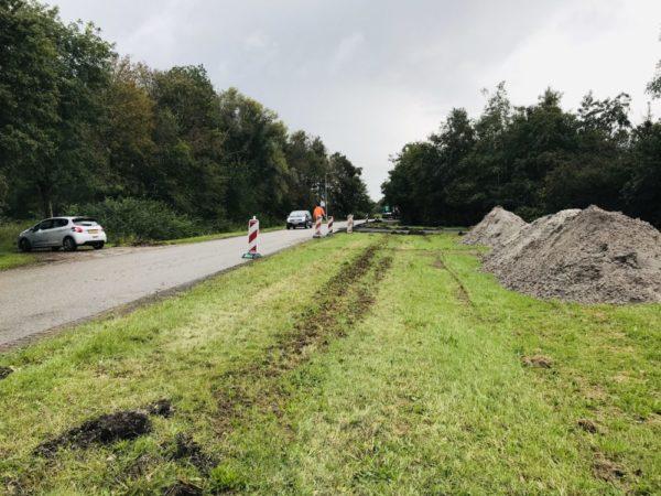 Werkzaamheden Boppewei De Sanjes Feanwâlden - Asfalteren Aanleg Nieuw Fietspad