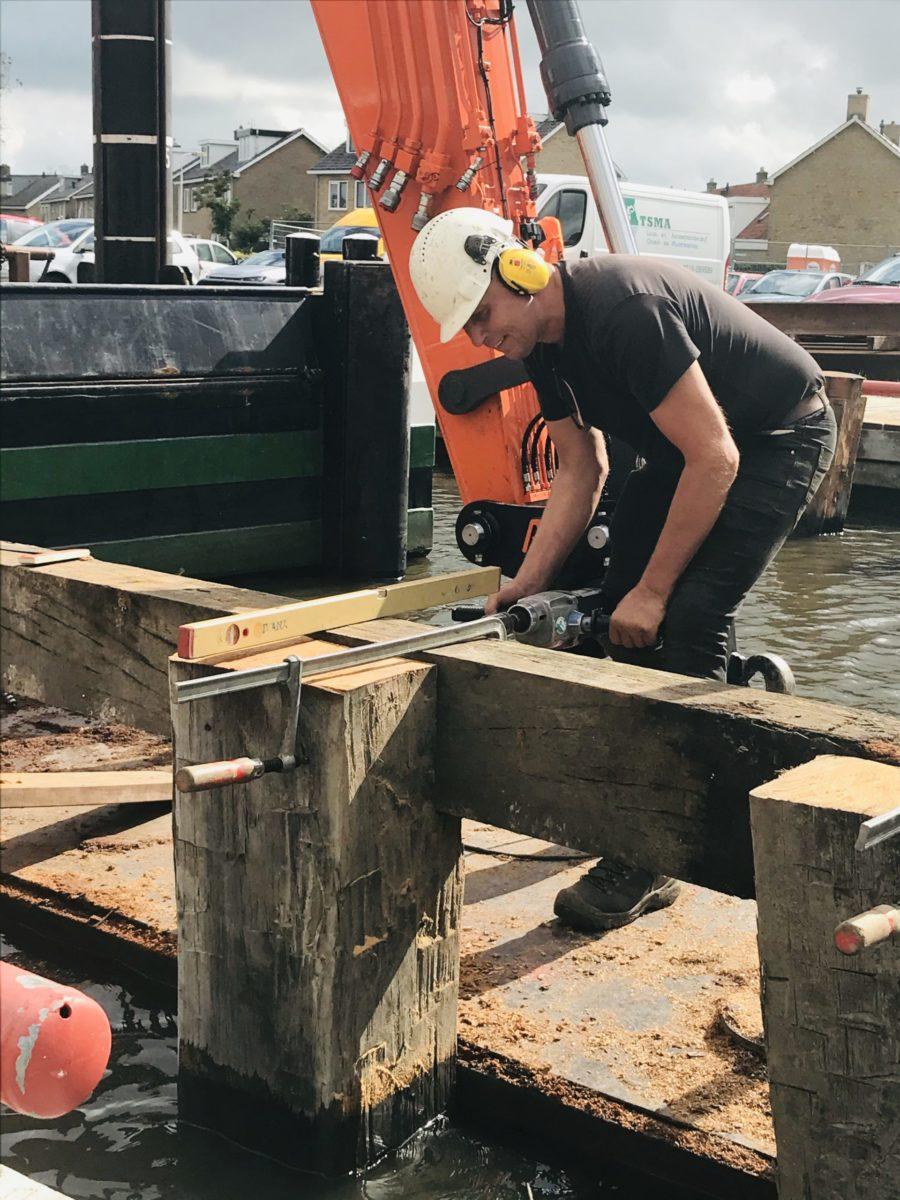 Bouw Noodbrug Meersweg Grou September 2020 1